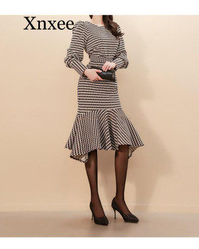 High Quality 2020 Winter Two Piece Set Slim Plaid Lanter Sleeve Top Bodycon Fishtail Skirt Knee-Length Suit Party Dress