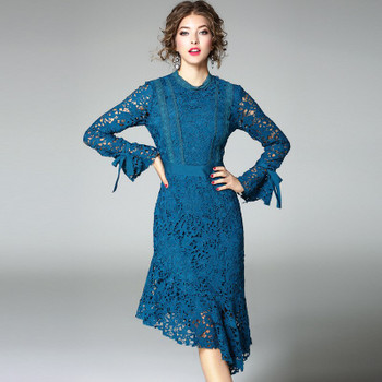 Irregular Elegant Fishtail Summer Party Dress 2020 New Autumn Sex Hollow Out Long Sleeve Dresses Maxi Vestidos LX1846