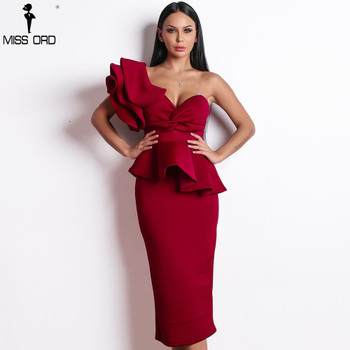 Missord 2020 Women Sexy Bodycon Off Shoulder Bandage Dresses Female Ruffles Backless Elegant Club Dress Vestido TB0020