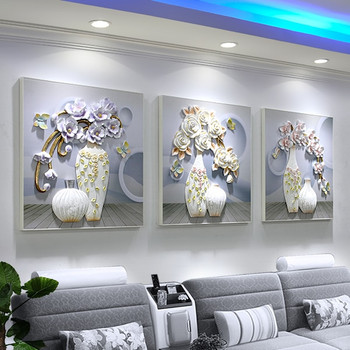 Sofa background wall decoration painting living room triptych frameless painting room decoration mural 3D relief painting