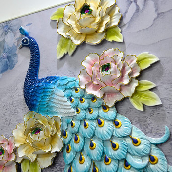 Living room sofa background wall decoration painting frameless painting three-dimensional relief painting peacock