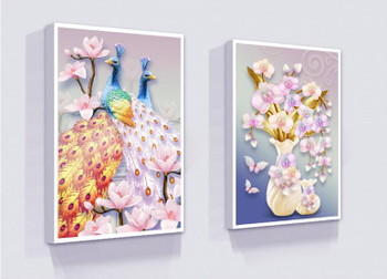 Unframed 3 Pieces/Set 3D Effect Orchid Vase Peacock Painting Posters For Living Room Pictures Canvas Wall Art