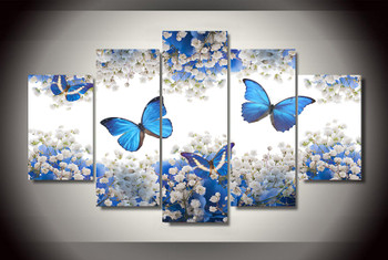 5 Panels Blue Butterfly And White Flowers Blossom Modern Home Wall Decor Canvas Picture Art HD Print Painting On Canvas Artworks