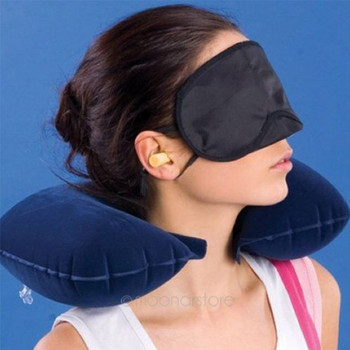 3 in 1 Travel Sets Comfortable Business Plane Trip Inflatable Neck Air Cushion Pillow + Eye Mask + 2 Ear Plug
