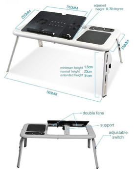 E-Table LD09 White/Black Laptop Table with 2 Fans, Mouse Pad and Cup Holder