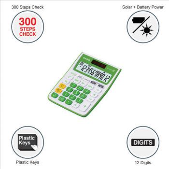 Casio MJ-12VCb-GN 300 Steps Check & Correct Colourful Desktop Calculator
