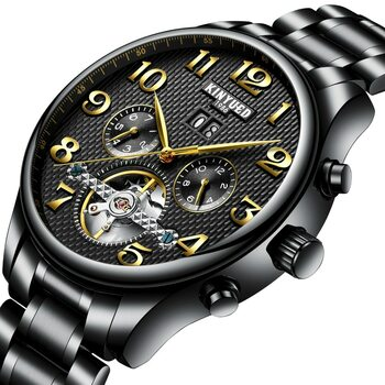KINYUED Mechanical Watch Men Skeleton Automatic Steampunk Steel Mens Watches Top Brand Luxury Self-wind Wristwatch Montre Homme