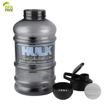 DOVEAZ Hulk Sports Gallon Water Bottle 1.5L with Mixer Ball and Strainer