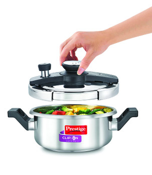 Prestige Clip-on Mini Induction Base Stainless Steel Pressure Cooker with Lid, 2 Litre Metallic Silver (adk0475cBG-633)