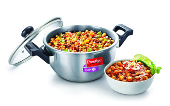 Prestige Clip On Stainless Steel Kadai Pressure Cookware with Glass Lid Accessory, 1-Piece, Metallic