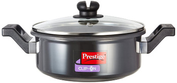 Prestige Clip-on Hard Anodized 3 litres Cookware With Glass Lid Ladle Holder, Charcoal Black