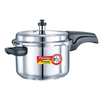 Prestige Deluxe Alpha Stainless Steel Pressure Cooker, 4 Litres, Silver