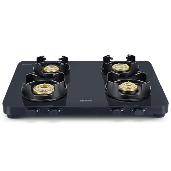Prestige Edge Schott Glass 4 Burner Gas Stove, Manual Ignition, Black