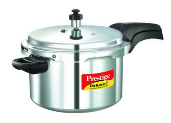 Prestige Deluxe Plus Induction Base Aluminium Pressure Cooker, 5 Litres, Silver