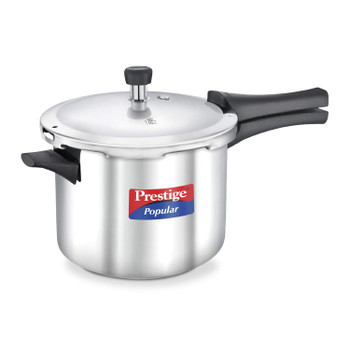 Prestige Popular Induction Base Stainless Steel Pressure Cooker, 5 Litters, Silver
