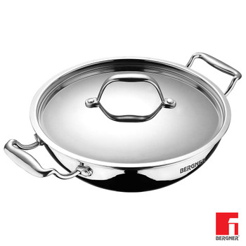 BERGNER Argent Triply Stainless Steel Kadhai with Stainless Steel Lid, 36 cm, (6.1 L),Sliver
