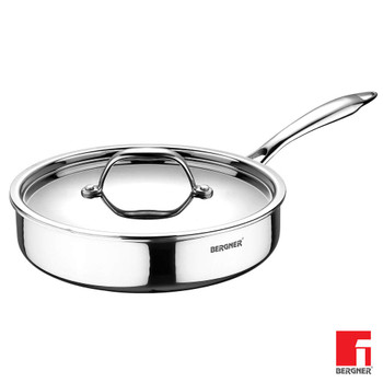 Bergner Argent Triply Stainless Steel Sautepan with Stainless Steel Lid, 26 cm, 3.1 Liters, Induction Base, Silver