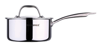 Bergner Argent Triply Stainless Steel Saucepan with Stainless Steel Lid, 18 cm, 2.2 Liters, Induction Base, Silver