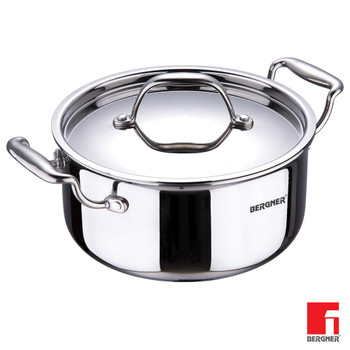 BERGNER 18-10 Steel Induction Base Argent Triply Casserole With Lid,24 Cm,5.3 Litres, Silver, 2 Piece