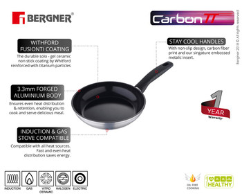 Bergner Carbon TT Forged Aluminium Non-Stick Frypan, 28 cm, Induction Base, Metallic Grey