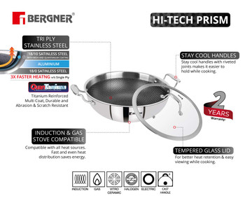 Bergner Hitech Prism Triply Stainless Steel Non-Stick Kadhai with Glass Lid, 24 cm, 2.5 Liters, Induction Base, Silver