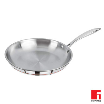 Bergner Argent 5CX 5 Ply Stainless Steel Fry pan 24 cm Induction Base Silver