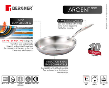 Bergner Argent 5CX 5 Ply Stainless Steel Fry-pan 24 cm Induction Base Silver