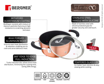 Bergner Infinity Chefs Forged Aluminium Non-Stick Casserole with Glass Lid 16 cm 1.2 Liters Induction Base Copper