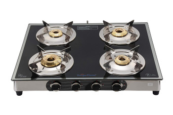 Surya Flame 4 Burner Chrome Stainless Steel Frame Body Manual Ignition ISI Mark Gas Stove