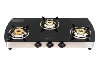 Surya flame 3 Burner Curve Glass Top Stainless Steel Frame Body Manual Ignition ISI Mark Gas Stove