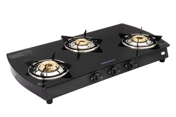 Surya flame 3 Burner Curve Glass Top MS Body Manual Ignition ISI Mark Gas Stove