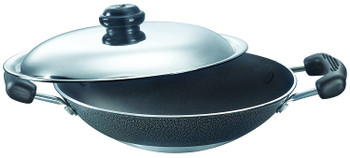 Prestige Omega Select Plus Residue Free Non-Stick Deep Appachetty with Lid, 20cm,Black and stainless steel