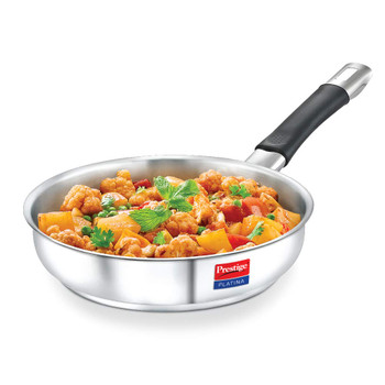 Prestige Platina Induction Base Non-Stick Stainless Steel Fry Pan, 240mm, Silver