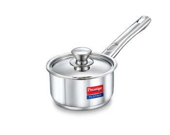 Prestige Platina Induction Base Stainless Steel Sauce Pan 200mm/3 litres Metallic Steel