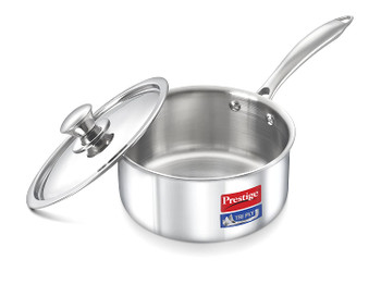 Prestige Induction Base Stainless Steel Sauce Pan 180mm Silver