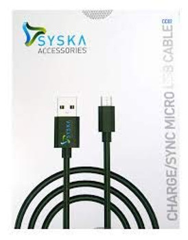 Syska CC09 Micro USB Cable (Compatible with All Smartphones, Tablets and MP3 Player, Black, Sync and Charge Cable) (Black)