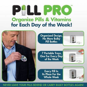 Wishpool Daily PILL PRO Pill Organiser Pill 4 Day Compartments Tablet Holder Pill Box