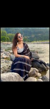 Cotton Mulmul Handblock Print Black Saree with Blouse