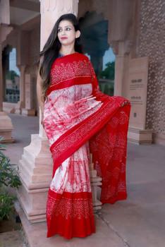 Cotton Mulmul Handblock Print Red Saree with Blouse