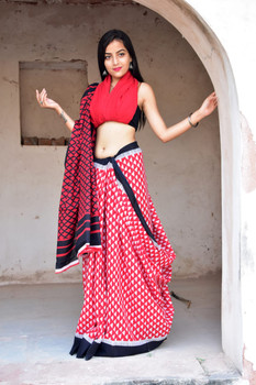Mulmul Cotton Handblock Print Red Saree with Blouse