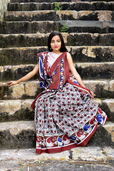 Cotton Mulmul Handblock Print White and Red Saree with Blouse