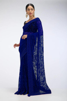 New 2021 beautiful Designer Saree on premium Net fabric with Sequnce work and blouse on Benglori silk Saree-BLUE