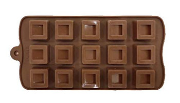 DIY Silicone Box/Cuboid Shape Chocolate Making Mould, 15 Slots, Food Grade, Brown