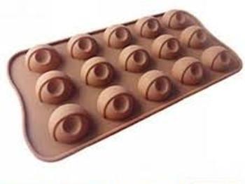 DIY Silicone Half Marble Shape Chocolate Making Mold, 15 Slots-Brown