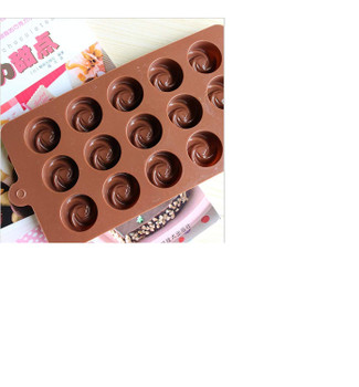 DIY Silicone Rose Flower Shape Chocolate Making Mold, 15 Slots-Brown
