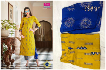 New 2021 Hot and Latest Fancy Kurti With Palazzo Pair-Yellow (Size-XXL)
