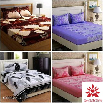 4 Different Designs and Colors Queen Size (90 X 90) Ravishing Versatile Polyester Double Bedsheets (4 Pieces = 1 Set)