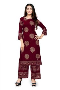 New 2021 Amazing Rayon Kurti With Palazzo- Red (Size-XL)