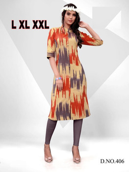 New 2021 Original ikat print fabric Hit Design Handloom Cotton Dress Size-L
