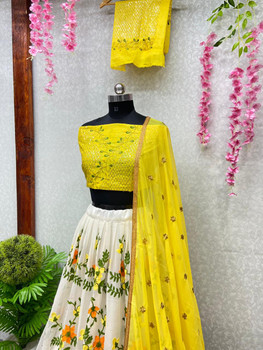 New 2021 Designer Embroidery Party Wear Yellow Lehenga Choli